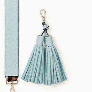 kate spade teal blue tassel fringe keychain nwt